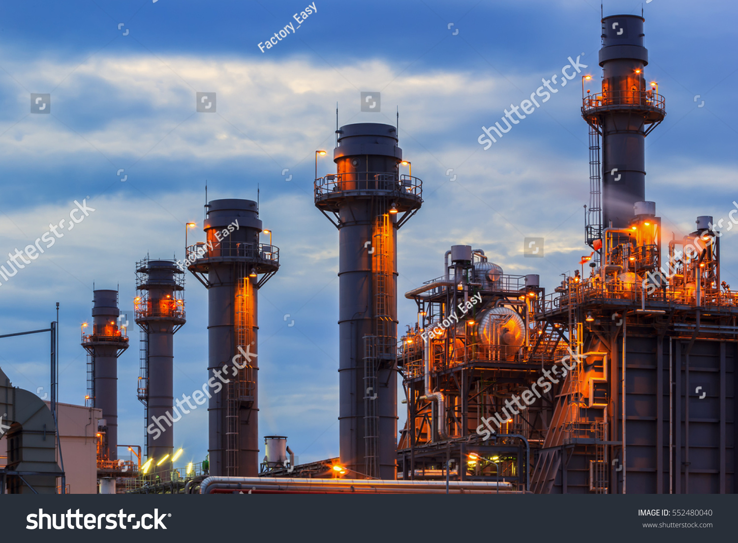 Stock Photo Gas Turbine Electrical Power Plant At Dusk With Blue What Is A Home About Us Hour 552480040 1